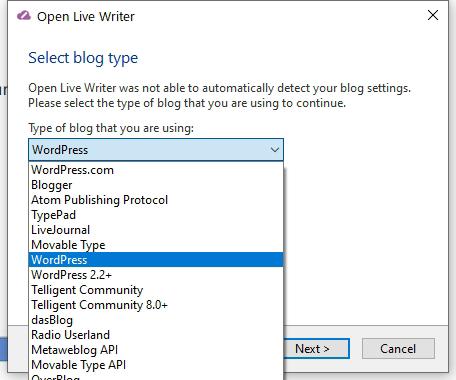 Open Live Writeーブログー種類